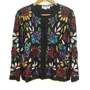 Colorful Floral Sequin Beaded Blazer Jacket